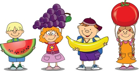 cartoon food: Cartoon children with fruits and vegetable