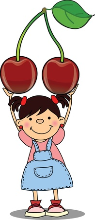 Cartoon boy with cherry  Stock Vector - 16694382