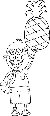 Cartoon boy with pineapple  Stock Vector - 16694378