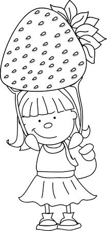 Cartoon boy with strawberry, berry  Stock Vector - 16694377