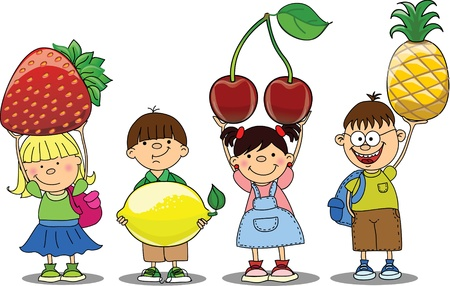 tomato juice: Cartoon children with fruits Illustration