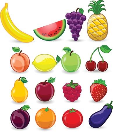 juice fresh vegetables: Cartoon fruits and vegetables
