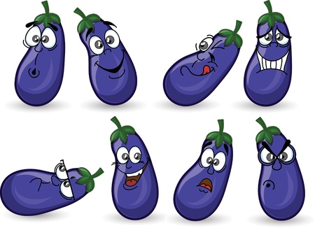 Cartoon eggplants with emotions  Vector