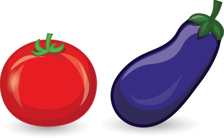 Cartoon tomato and eggplant Vector
