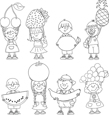 coloring book: Cartoon children with fruits and vegetable