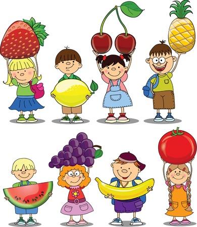 niños sanos: Niños de la historieta con frutas y vegetales