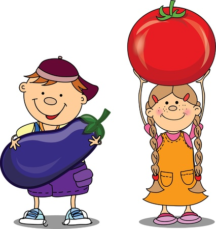 Cartoon children with vegetables Vector