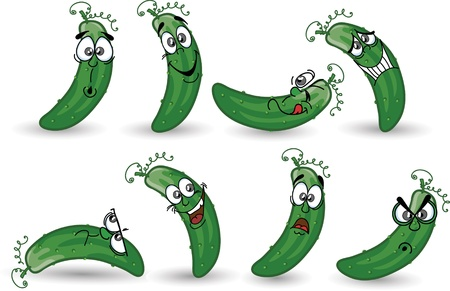 Cartoon cucumbers  Vector