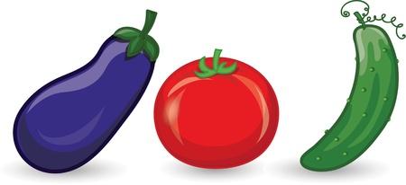 Cartoon cucumber, eggplant, tomato