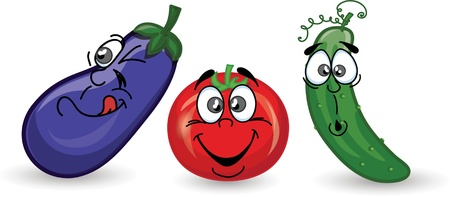 Cartoon cucumber, eggplant, tomato Stock Vector - 16814476