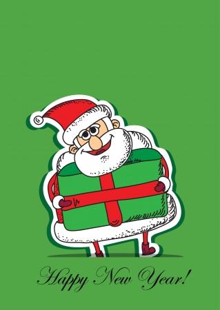 Cartoon Santa, Christmas card  Vector