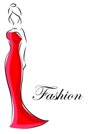 dress sketch: Fashion woman, hand drawing illustration  Illustration