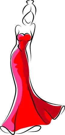 high fashion model: Mujer de moda, ilustraci�n mano de dibujo Vectores