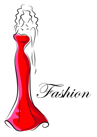 Fashion woman, hand drawing illustration  Vector