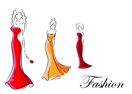 girl in red dress: Fashion woman, hand drawing illustration  Illustration