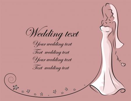 bride bouquet: Silhouette of bride, background Illustration