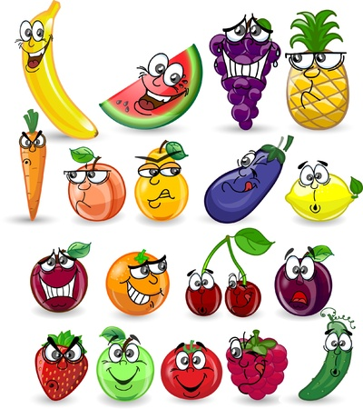 cartoon food: Cartoon fruits and vegetables Illustration