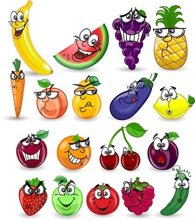 banaan cartoon: Cartoon groenten en fruit Stock Illustratie