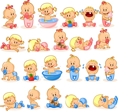 illustration of baby boys and baby girls  Vector