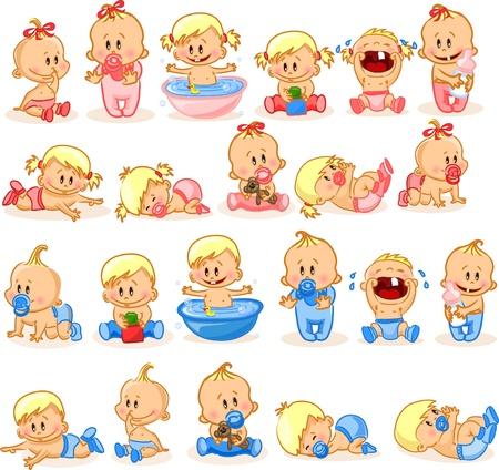 cartoon m�dchen: Illustration von Baby Jungen und M�dchen im Babyalter