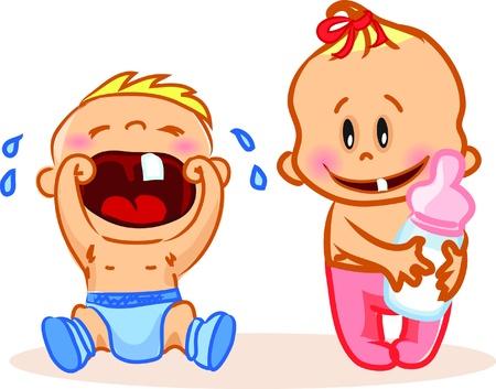 wenen: illustratie van baby jongen en meisje