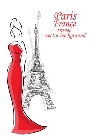 Fashion woman in Paris Stock Vector - 16953516
