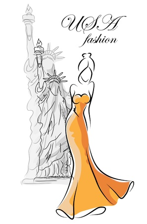 Fashion woman in USA  Vector
