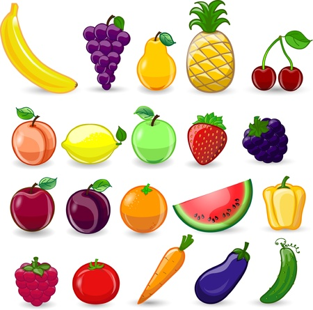 Cartoon fruits and vegetables  Stock Vector - 16953517
