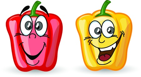 Cartoon cute peppers, background  Vector
