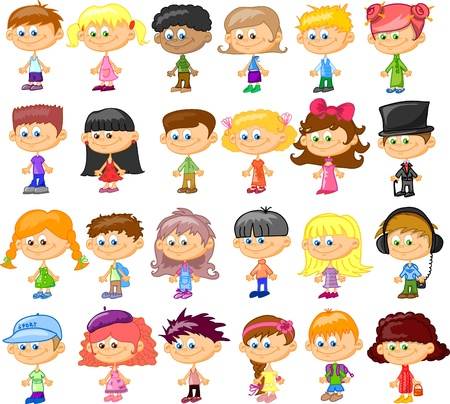 Set of cartoon cute children Stock Vector - 17010797