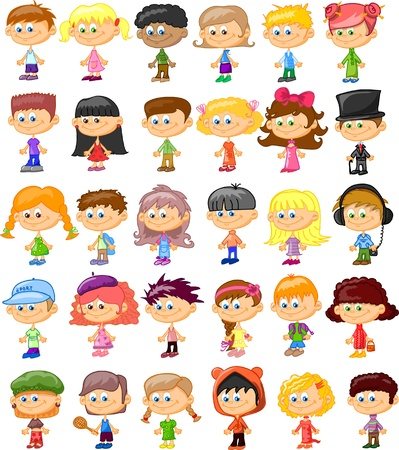 Set of cartoon cute children
