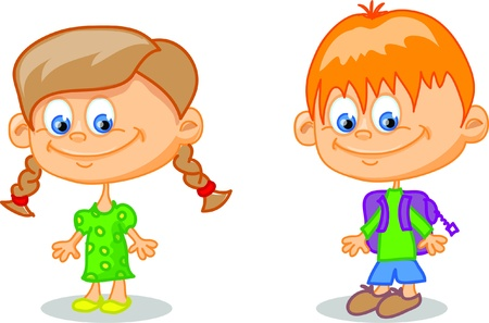Set of cartoon cute children Stock Vector - 17010748
