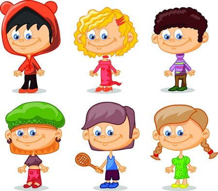 Set of cartoon cute children Stock Vector - 17010778