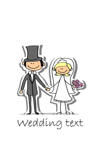 wedding couple: Cartoon wedding picture  Illustration