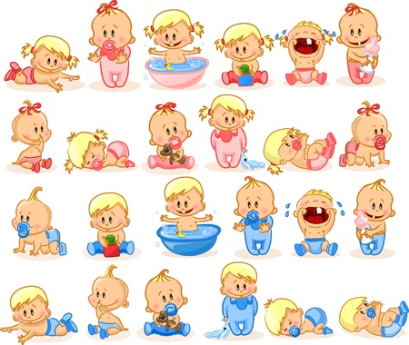 baby cry: illustration of baby boys and baby girls