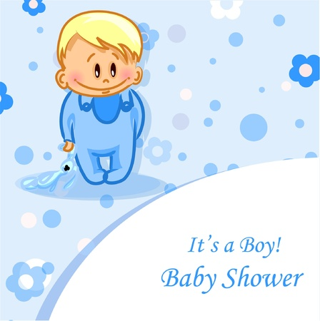 crying child: illustration of baby boy, background
