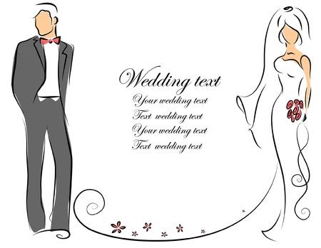 Silhouet van bruid en bruidegom, achtergrond Vector Illustratie