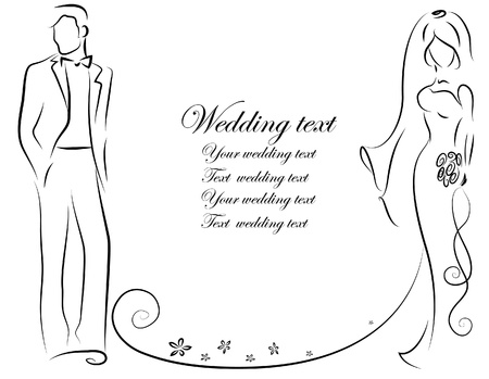 veil: Silhouette of bride and groom, background