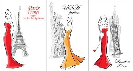 fashion bag: Fashion women, travel background  Illustration