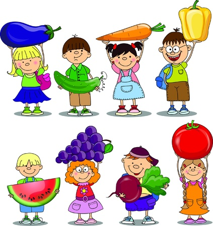tomato juice: Cartoon children with vegetable and fruits  Illustration