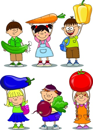 Cartoon children with vegetable and fruits  Vector