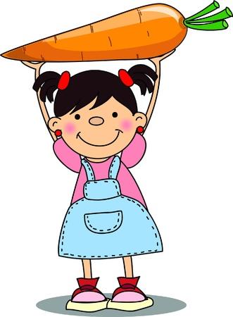 niños sanos: Cartoon chica con zanahoria
