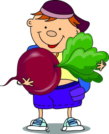 Cartoon boy with beet Vector