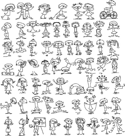nursery school: Set of doodle children
