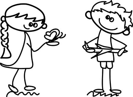 Set of doodle children Stock Vector - 17341120