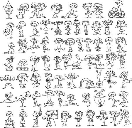 sport cartoon: Set of doodle children