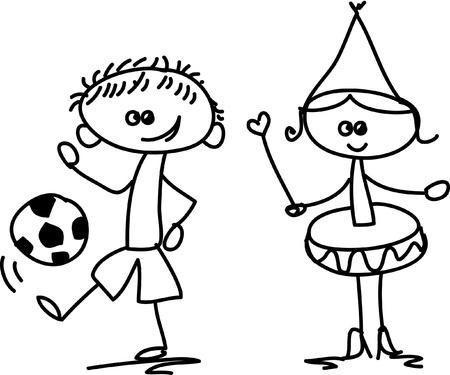 Set of doodle children Stock Vector - 17350285