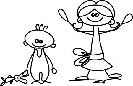 Set of doodle children Stock Vector - 17350269