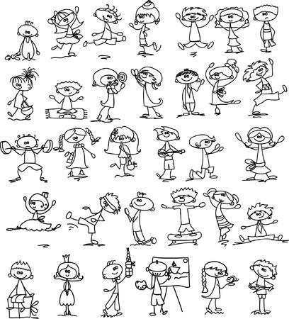 Set of doodle children Stock Vector - 17350277