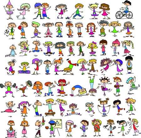 niños bailando: Juego de niños del doodle